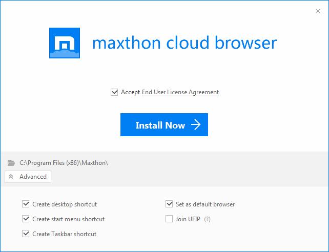 Maxthon - inštalačná obrazovka