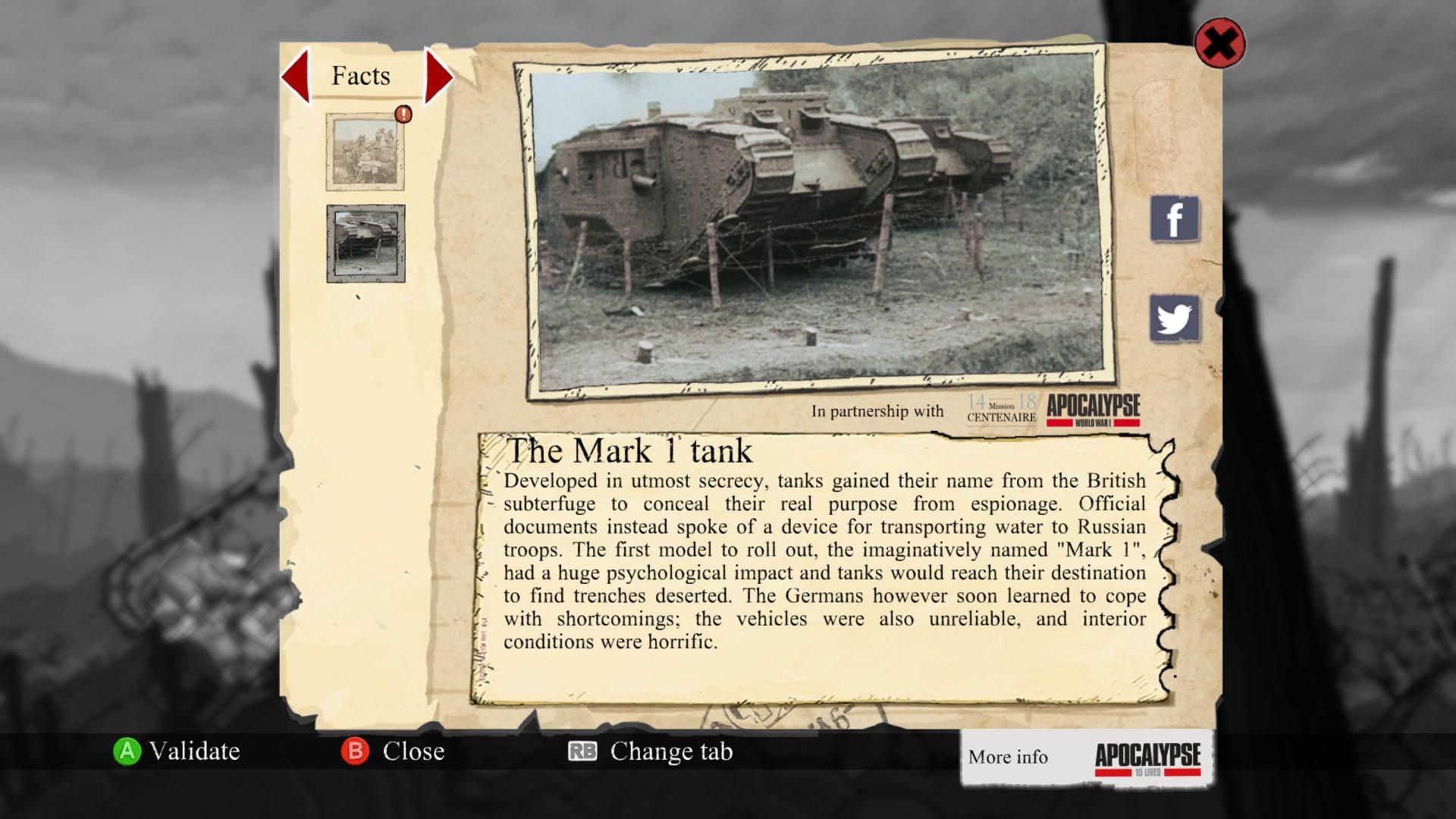 Celá hra je prešpikovaná opismi udalostí, miest a predmetov súvisiach s vojnou.