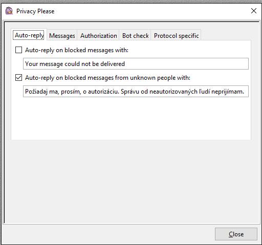 Privacy Please - automatická odpoveď